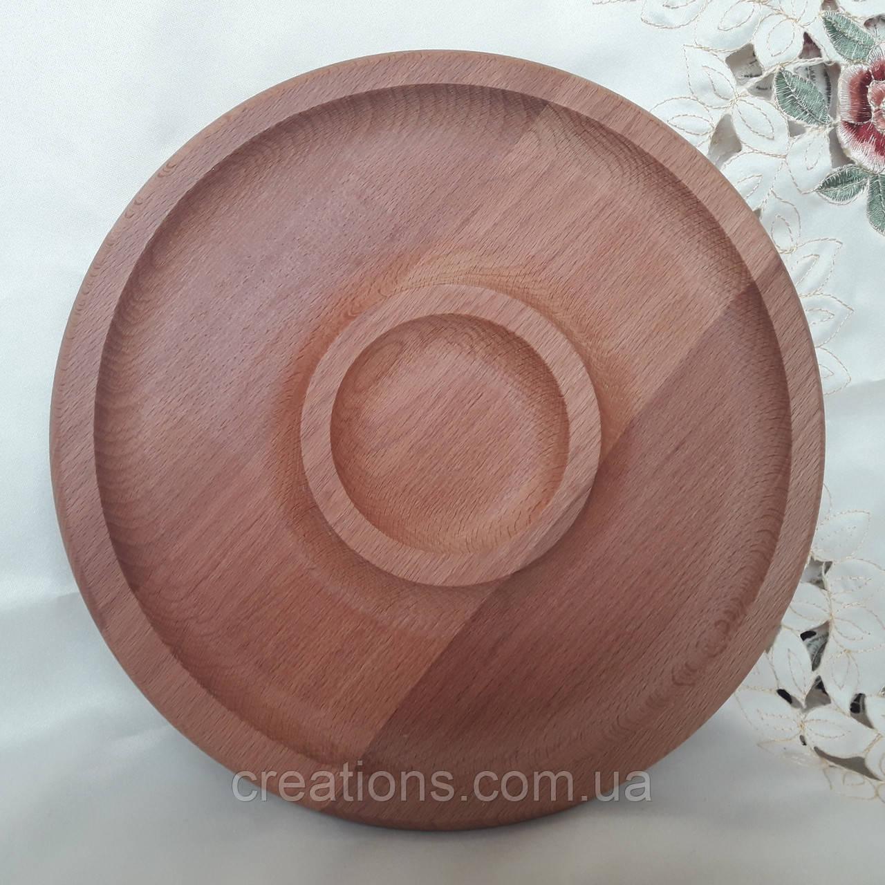 Менажница деревянная 34 см. круглая с соусницей из бука БМ-47