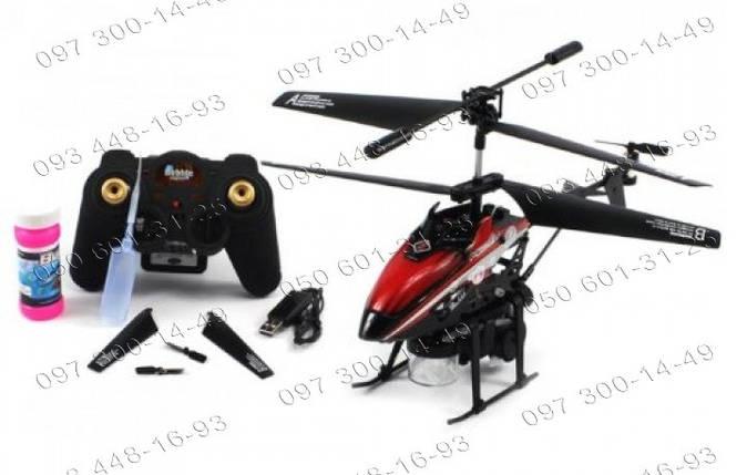 Мыльные пузыри Радиоуправляемый вертолет Bubble WL Toys V 757 Трехканальный вертолет красный Игрушки на р/у, фото 2