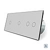 Сенсорний вимикач Livolo 1-1-2 з функцією ДУ колір сірий скло (VL-C701R/C701R/C702R-15)