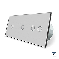 Сенсорний вимикач Livolo 1-1-2 з функцією ДУ колір сірий скло (VL-C701R/C701R/C702R-15), фото 1