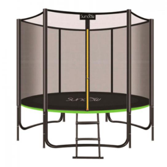 БАТУТ MS 2920-2 диаметр 244 см, с сеткой-высота 150 см, на пружинах 48 шт, ножки 3 шт, лестница.