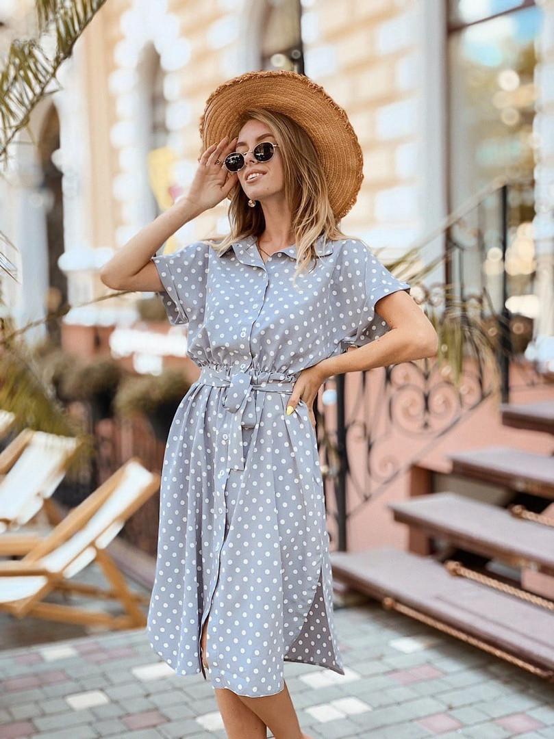 Женское стильное летнее платье в горошек