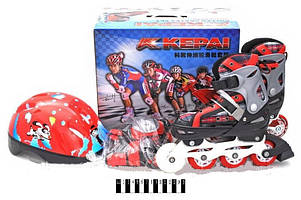 Ролики + защита + шлем Kepai (красные)