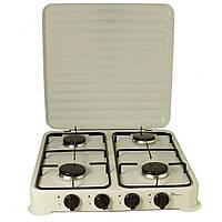 Плита газовая настольная Domotec MS 6604 на 4 конфорки, белая, фото 1