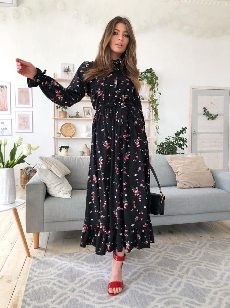 Женское длинное платье с цветочным принтом,черного цвета