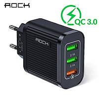 ROCK Quick Charge 3.0 3 USB порта 5V/2.4A 9V/1.8A 12V/1.5A Быстрое сетевое зарядное устройство QC3.0 Qualcomm