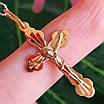 Золотой крестик с распятием - Православный крестик из золота - Женский золотой крестик, фото 3
