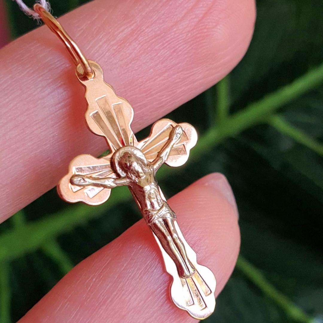 Золотой крестик с распятием - Православный крестик из золота - Женский золотой крестик
