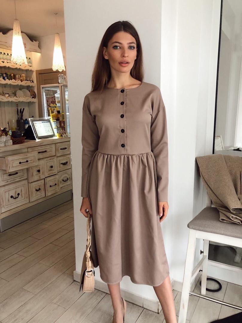 Женское стильное платье-миди с карманами,бежевого цвета