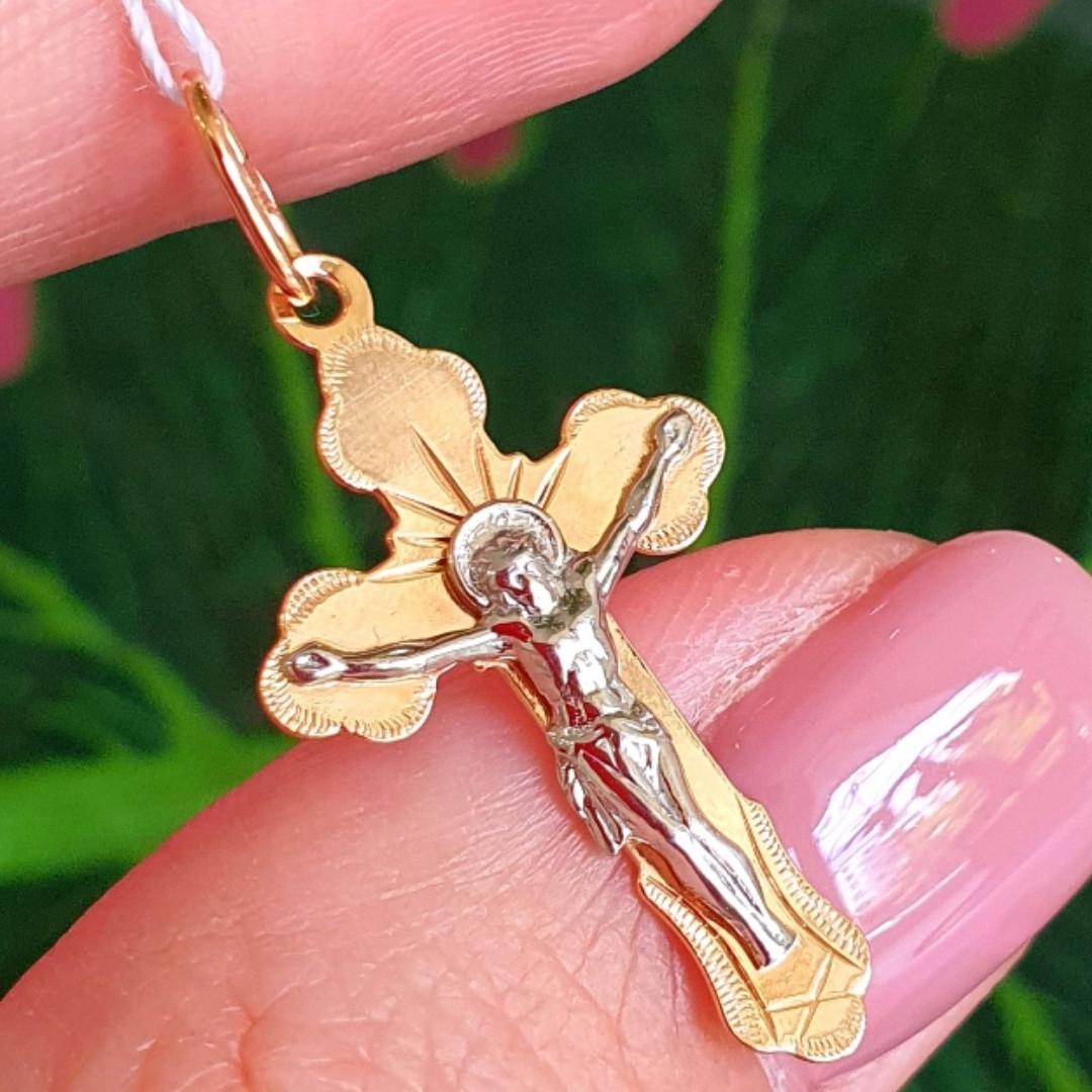Золотой крестик - Крестик православный из золота - Мужской золотой крестик