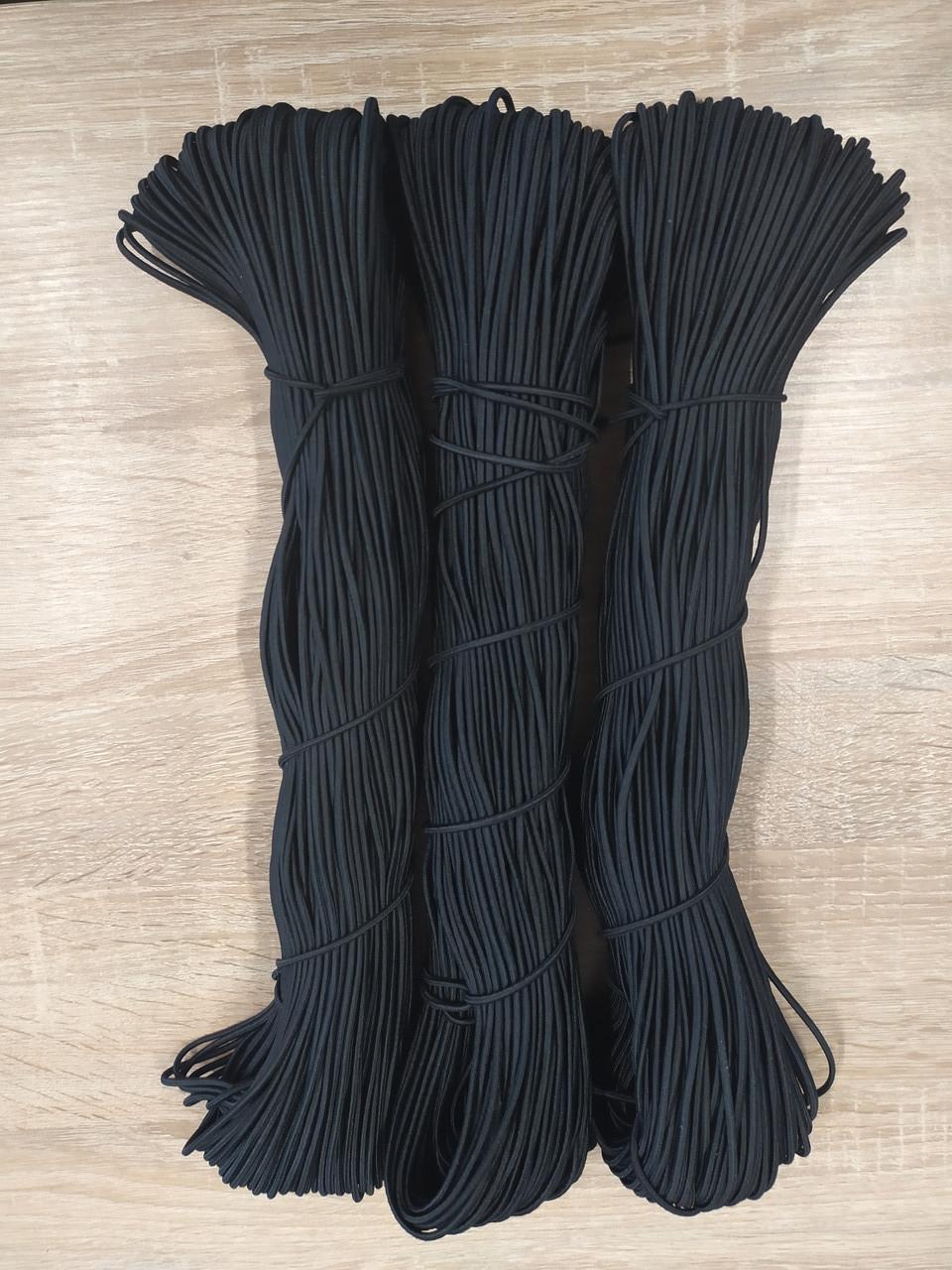 Резинка круглая из полиэфира черная 3,0 мм 100 м