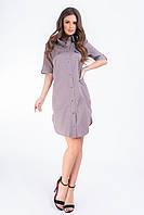 Платье- рубашка, арт 827, белый горошек, цвет пепельный беж