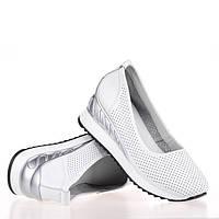 Женские кожаные туфли -балетки с перфорацией летние