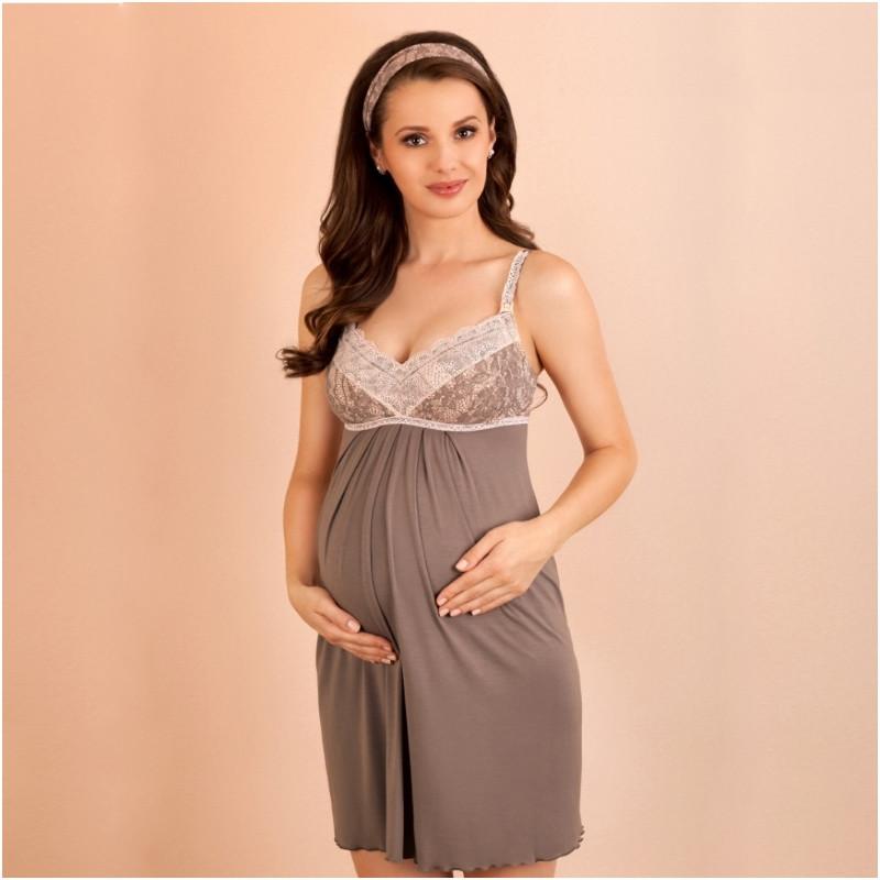 Ночная рубашка для беременных и кормящих LUPO LINE 1383 (размер 36, коричневый)