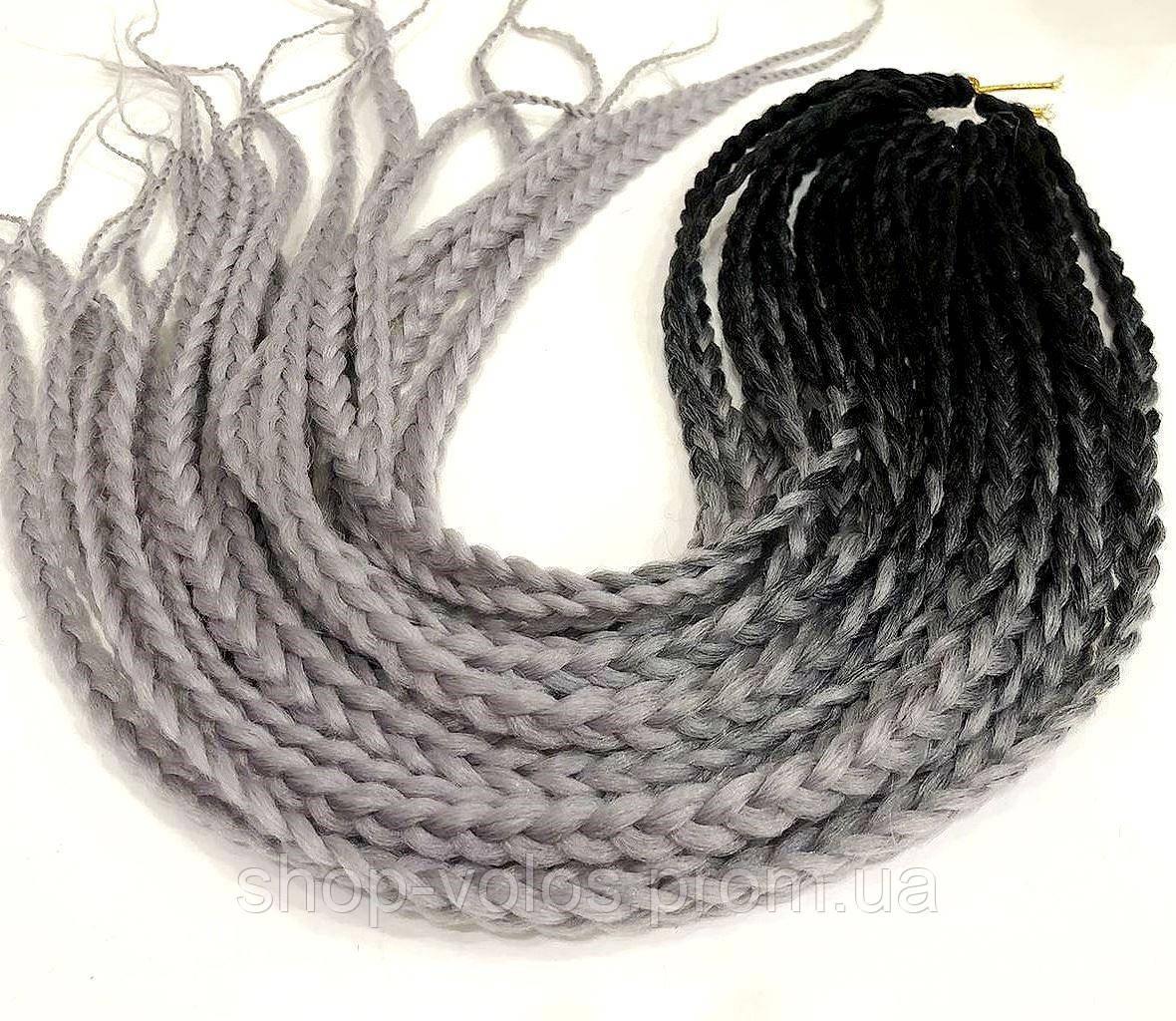 Косички ZIZI черно-серые