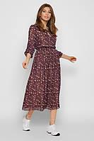 Летнее женское шифоновое платье в цветочный принт с рукавом три четверти