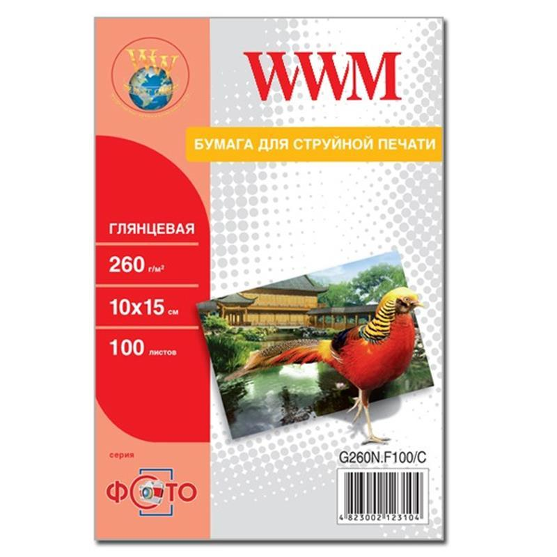 Фотобумага WWM Photo глянцевая 260г/м2 10х15см 100л (G260N.F100/C)