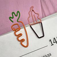 Скрепка фигурная для книг и блокнотов Мороженое и Морковка 2 шт