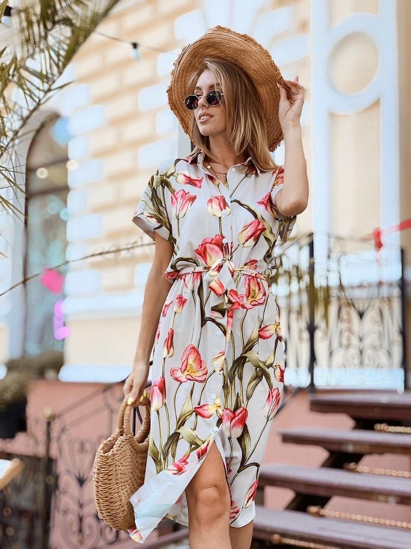 Женское стильное платье-миди с цветочным принтом
