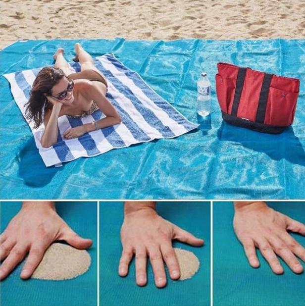 Пляжная подстилка Sand Free Mat. Подстилка АНТИ-ПЕСОК для отдыха