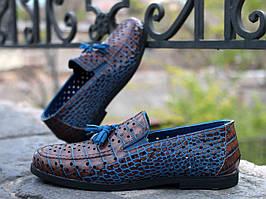 Туфлі Etor 15098--6589-158 коричневий+блакитний