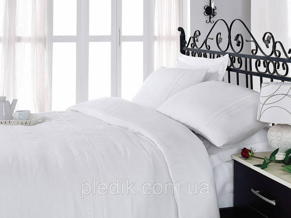 Постельное белье 200х220 Cotton box Сатин с вышивкой FOR YOU BEYAZ