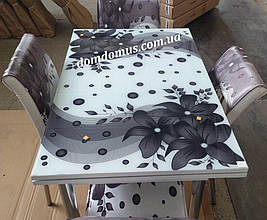 """Комплект кухонних меблів """"Квітка"""" (стіл ДСП, гартоване скло + 4 стільця) Mobilgen, Туреччина"""