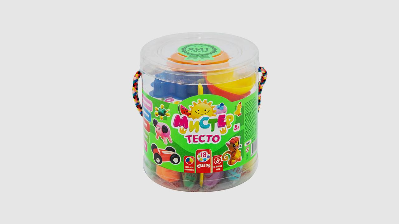 Набор теста для лепки мистер тесто STRATEG 71108. 18 цветов.