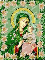 Икона Богородицы Неувядаемый Цвет. Схема под полную зашивку бисером.