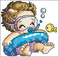 Детский Набор для вышивания ГрандДизайн. Набор с мулине DMC Малыш. Канва с рисунком