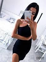 Женское летнее вечернее черное мини короткое платье на одно плечо с вырезом на ноге масло размер 42-44