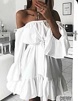 Женское летнее легкое пышное платье с открытыми плечами и воланами белое рр 42-46 ткань софт