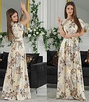 Женское летнее длинное платье в цветах с поясом  софт42 44 46 48 горошек розовое белое синее пудра полоска