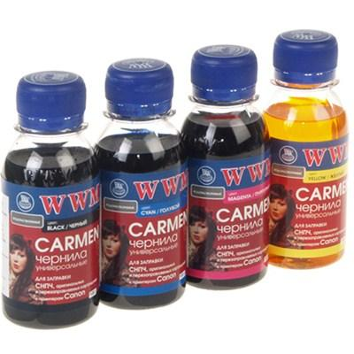 Комплект чернил WWM Universal Carmen для Сanon серий PIXMA iP/iX/MP/MX/MG В/C/M/Y(CARMEN.SET-2) 4*100г