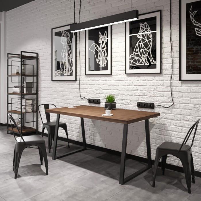 Обеденный стол в стиле лофт БИНГО Оверлайт 745/1200/750