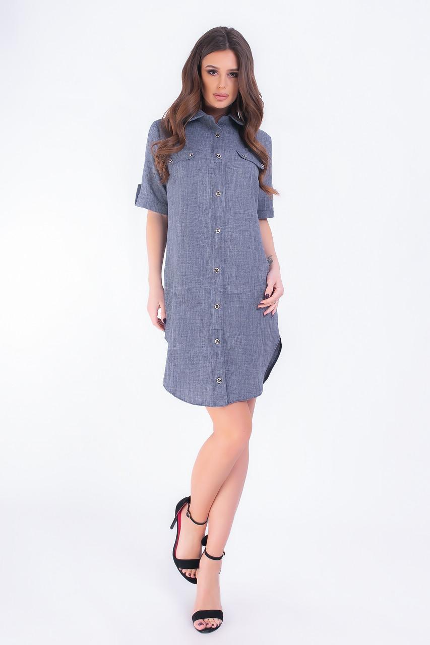 Платье- рубашка, арт 827,темно-синий однотон, ткань коттон-лен