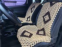 Деревянная автомассажная накидка на сиденье автомобиля.