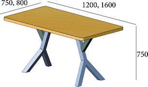 Письменный / компьютерный стол из дерева на металлическом основании в стиле лофт Брайт 750/1200х750, фото 2