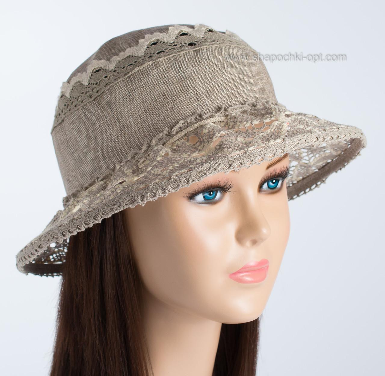 Темно бежевая шляпа натуральный лён с кружевом размер 56-58