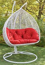 Підвісне садове крісло гойдалка кокон крапля куля плетене з ротанга Українські Конструкції Дабл / Dabl