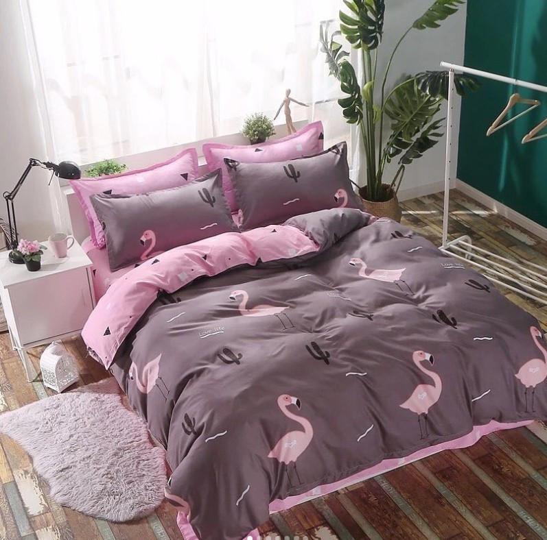 Комплект постельного белья Евро - Фламинго