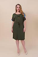 Женское платье батал с утяжкой на поясе хаки. Турция. Размеры 46\54, 48\56, 50\58.  Хмельницкий, фото 1