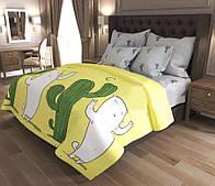 Красивое постельное белье, семейный размер с кактусами