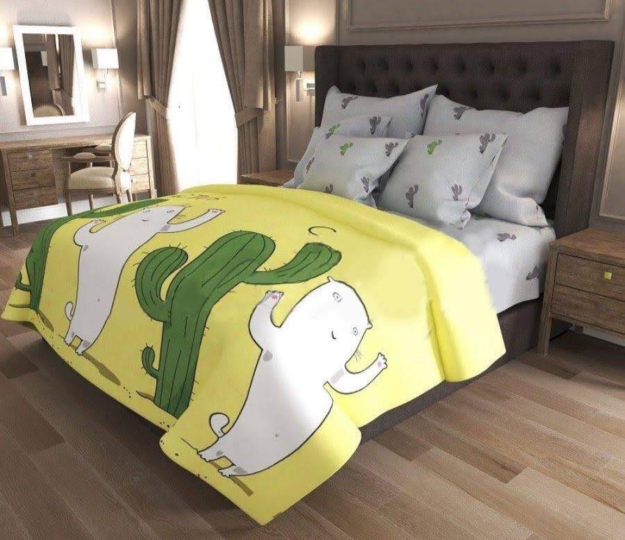 Комплект полуторного постельного белья, кактус