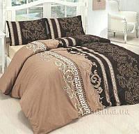 Качественное красивое постельное белье двойка, коричневое