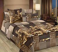 Стильное постельное белье полуторка, коричневое