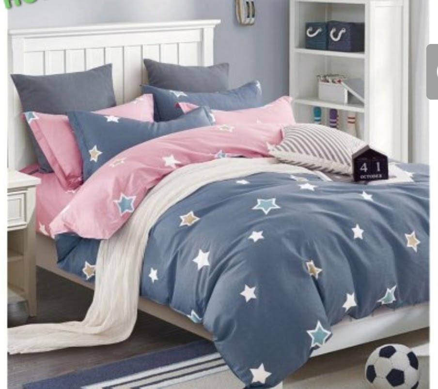 Красивое постельное белье евро размер, милые звезды