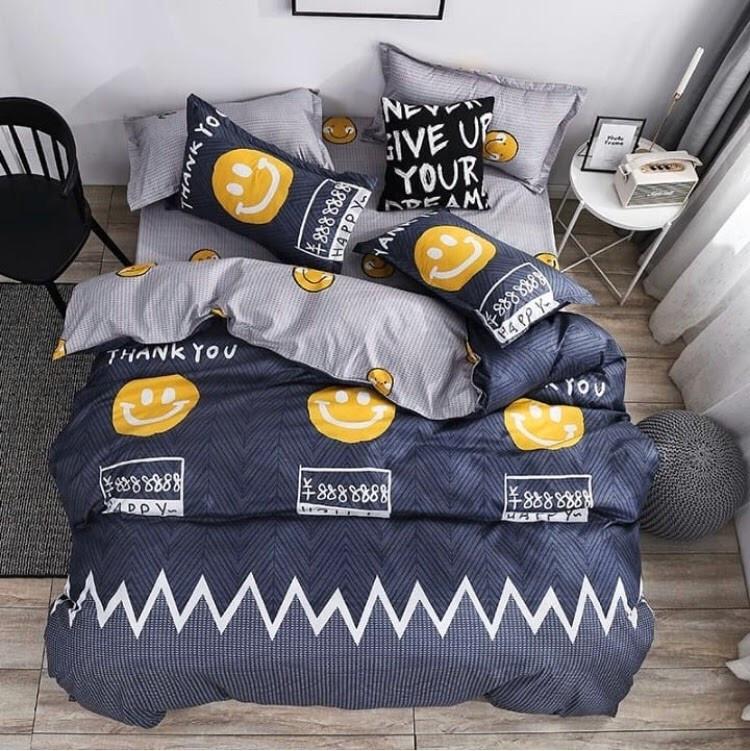 Качественное детское постельное белье полуторка, смайлик