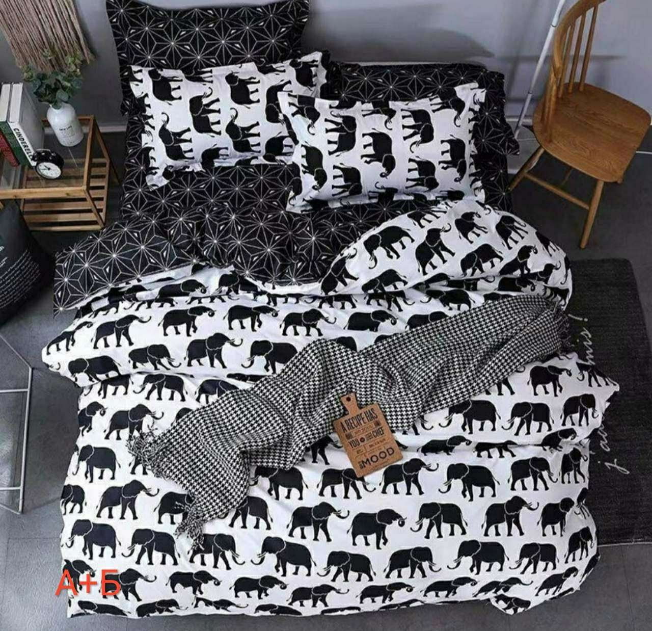 Комплект красивого постельного белья, двухспалка, слоники