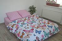 Комплект милого постельного белья отличного качества, двухспалка, бабочки